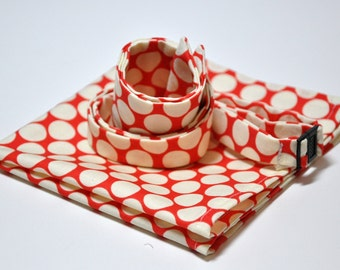 Freestyle Bow Tie and Pocket Square Set in Red Big Dots