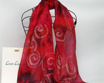 Hand Painted Silk Scarf Deep Red Celtic