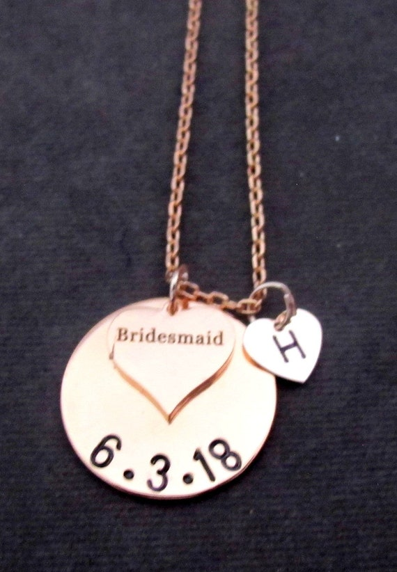 Bridesmaid Gift, Rose Gold Necklace, Custom Wedding Date Necklace, Personalized Rose Gold Bridesmaid Initial Necklace, Free Shipping In USA