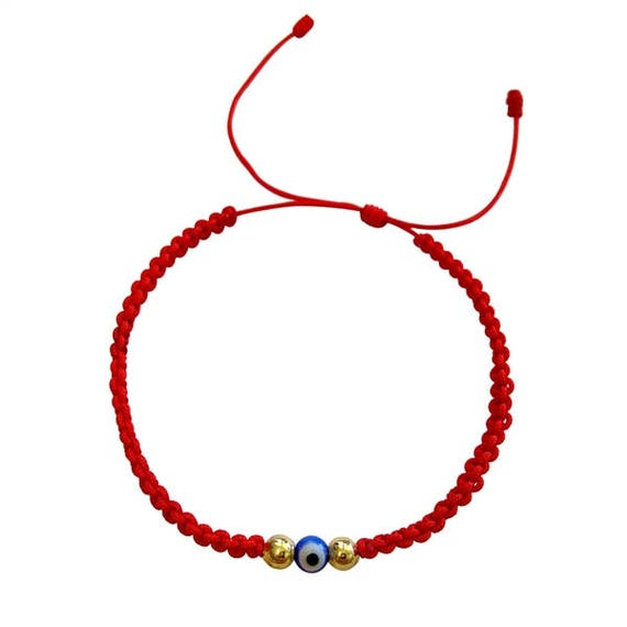 red bracelet and eye necklace silver string hamsa evil
