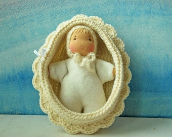 Waldorf Doll Baby Crib Steiner doll Pocket doll Waldorf toys Doll in knitted bed Germany doll Crochet Baby Crib Natural doll in crib