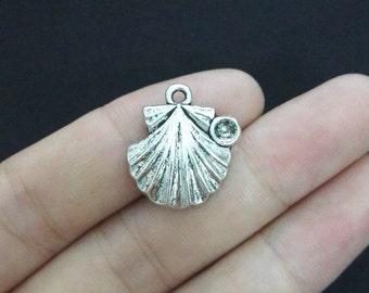 6 Sea Shell Charms, Antique Silver Tone (1A-47)