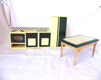 Melissa and Doug, Doll Furniture, Doll Refrigerator, Doll Kitchen Sink, Doll Stove, Doll Table, Kitchen Furniture, Miniature Furniture, Wood