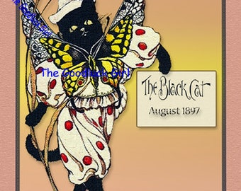 August 1897 BUTTERFLY CAT The Black Cat Magazine cover 8x10 vintage reproduction animal Art Print