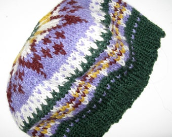 Fair Isle Beret Tam made with Alpaca and Wool Yarn, Soft Alpaca Winter Hat for Men and Women