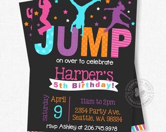 Jump Birthday Invitation, Bounce House Birthday Invitation, Trampoline Birthday Invite, Girl Birthday Invitation, Jump and Play