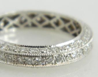 Beautiful 14K White Gold Diamond Eternity Wedding Band