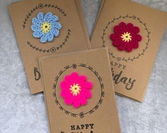 Handmade crochet flower birthday card