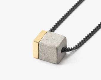 Architectural Jewelry Long Geometric Necklace Concrete And Brass Necklace Architecture Necklace N SCL / B