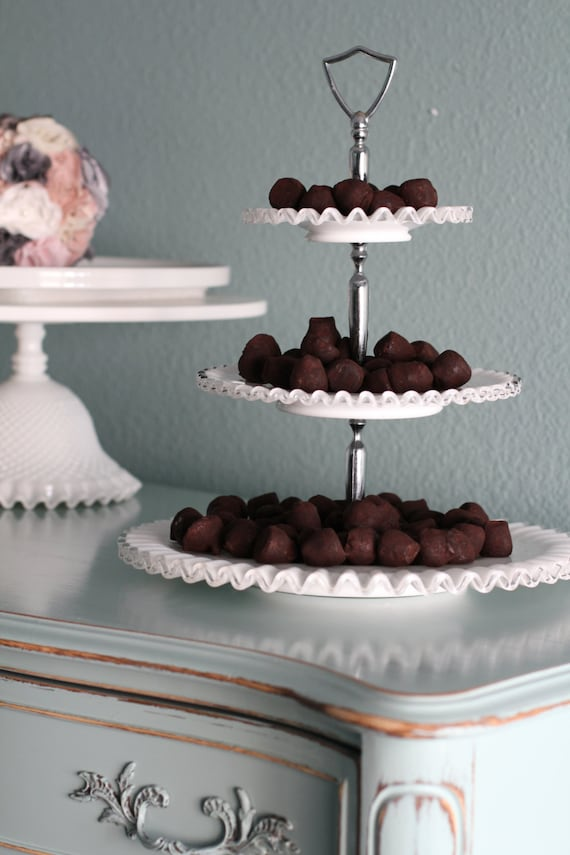 3 tier cake stand milk glass tiered cupcake stand truffle. Black Bedroom Furniture Sets. Home Design Ideas