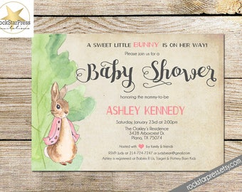 Bunny Rabbit Girl Baby Shower Invitation, Digital File,  PRINTABLE _1249PINK