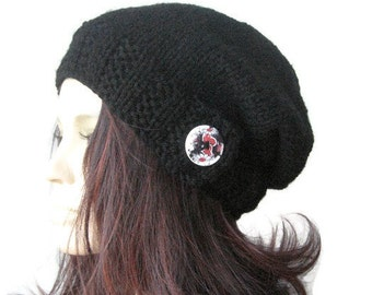 Black Hat, Wood Button Tab Beanie, Hand Knit Hat, Black Slouchy Hat, Winter Hat, Black Slouchy Beanie