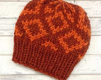 Large Pumpkin Spice Diamond Fair Isle Hat - Orange Knit Hat Orange Womens Hat Orange Beanie Orange Hat - Orange Winter Hat - READY TO SHIP