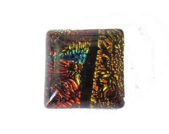 Handmade square 10mm red/orange Dichroic Glass cabochon