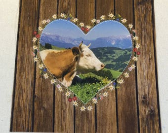 Fabric panel, cow, Cottage, Edelweis, Heart
