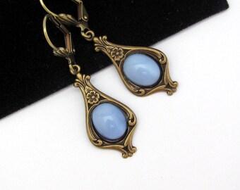 Blue Art Deco Earrings, Victorian Style Earrings, Art Nouveau Earrings, Blue Art Glass, Dangle Drop Earrings, Flower Earrings, Hawaii Beads