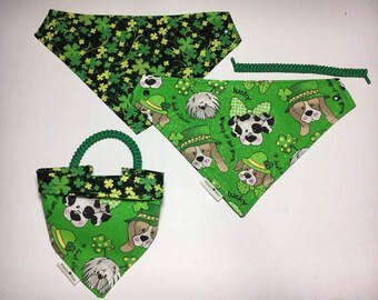 dog scarf, pet bandana, St. Patricks Day, sizes XS-XL, pet scarf, dog bandana, pet clothing, pet attire, every day bandana, pet wear