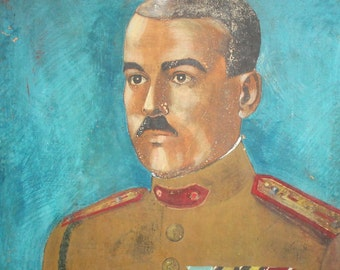 Antique oil painting military officer portrait