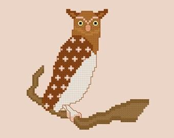 Owl Cross Stitch Pattern PDF Digital Download