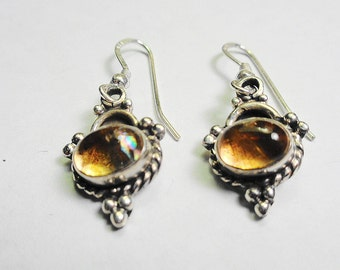 Citrine Earrings.  9 x 6mm. Citrine Oval Dangle Earrings in Silver.