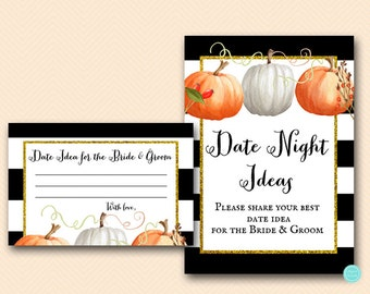 Fall Bridal Shower Date Night idea, Date Night cards, Date Night Bridal Shower, Date Night Sign, Pumpkin Bridal, Autumn Bridal Shower BS463