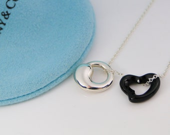 Tiffany & Co Peretti Black Jade Heart and Silver Eternal Circle Necklace 17 inch chain