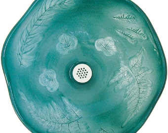Mediterranean Vessel Sink in rich Teal Green with real Sage,Fern, and Strawberry leaf imprints.