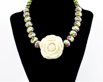 Flower Necklace ,unique , handmade, multy color