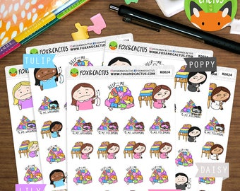 Laundry 2 Kawaii Girls - Fail Adulting Washing Chores - Planner Stickers (K0024)