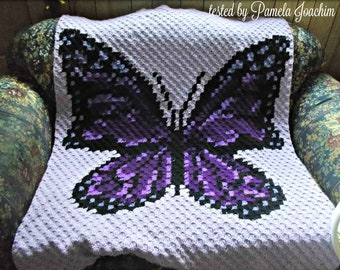 Butterfly Afghan C2C Crochet Pattern, Written Row by Row Counts, C2C Graphs, Corner to Corner Crochet Pattern, Graphgan Butterfly in Purples