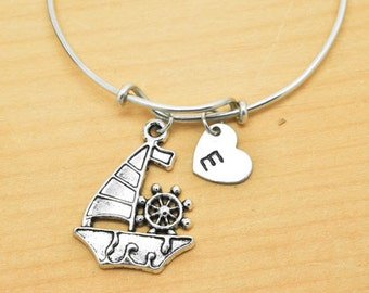 Boat Bangle, Sterling Silver Bangle, Boat Bracelet, Bridesmaid Gift, Personalized Bracelet, Charm Bangle, Initial Bracelet, Monogram bangle