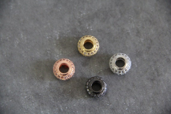 CZ Micro Pave 7x13mm Roundel  Beads