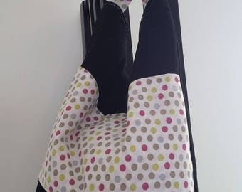 Black bag and multi-colored polka dots with handles/bag child/teen/snack/storage