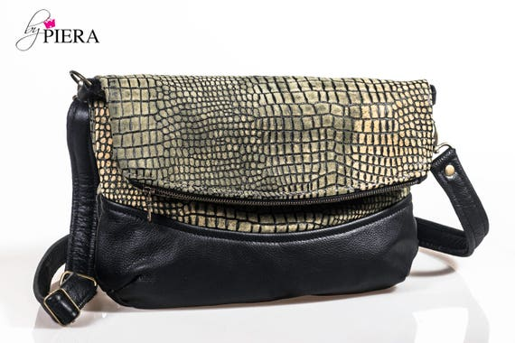 croc embossed leather bag, fold over bag, leather bag, leather foldover bag, leather handbag, green leather bag, black leather