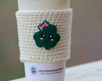 Coffee sleeve, cup cozy, cup sleeve, St Patricks day, Coffee cozy, coffee gift, gift mom gift, coworker gift, Shamrock, Four leaf clover
