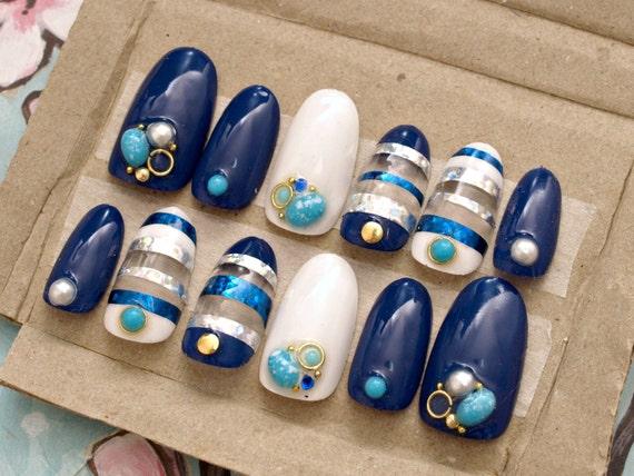 Gel nails, navy, summer nail art, marine, turquoise, pearl, stripes ...