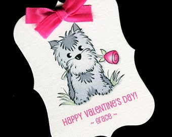 20 Valentine Tags - Personalized Tags - Valentines Day - Favor Tags - Cookie Tags - Bag Tags - Valentine Candy Tags - Gray Dog With Rose