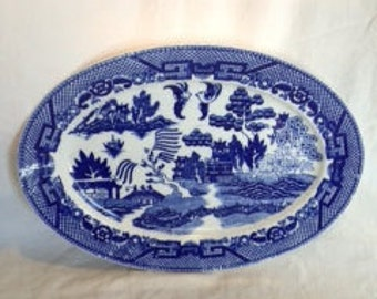 Blue Willow Platter made in Occupied Japan