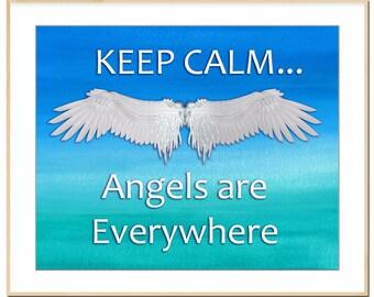 Printable Angel painting, calming, keep calm, guardian angel, instant download, digital art, print your own art, printable art, Angelic art