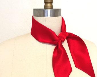 Silk charmeuse red neckerchief needs no folding. Just tie & go. Choker scarf. Red silk bandana. Red kerchief. Red scarf. Neck scarf.
