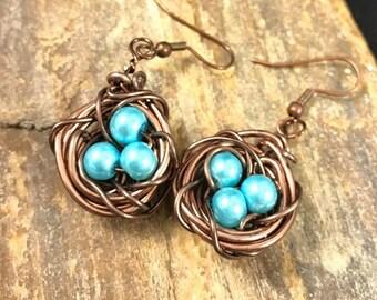 Bird Nest Earrings, Robins Egg Nest Earrings, Aqua Egg Nest Earrings, Silver Nest Earrings, Mothers Day Gift, Baby Shower, Nest Jewelry