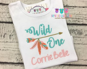 Girl Tribal Birthday Shirt - 1st birthday Outfit - One Girls Birthday Outfit - Arrow Tribal Birthday Shirt - pink teal and coral