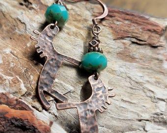 Primitive Copper Horse Earrings