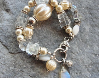 White Chunky Bracelet - Pearls and Crystals Layer Statement Bohemian Bracelet