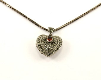 Vintage Marcasite Heart Shape Necklace 925 Sterling Silver NC 1038