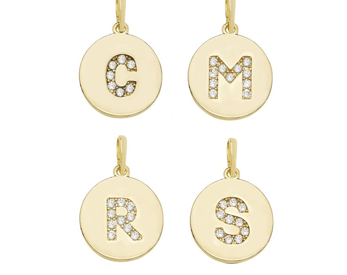 Personalised 9ct Yellow Gold Cz Initial 13mm Round Disc Pendants