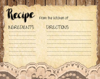 Rustic recipe card, kitchen of card, DIY recipe card, printable recipe card, rustic recipe card, ivory lace, tea stained lace