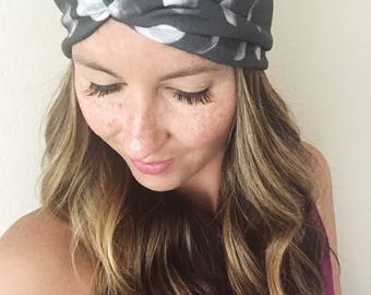 Moon Print Headband, Knit Wrap, Women's Twist Head Wrap, Boho Turban, Hippie Headband, Moon Product, Black and White, Hair Accessory, Boho