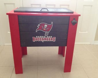 Tampa Bay Buccaneers wood cooler stand