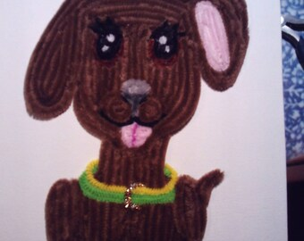 Sitting puppy picture in chenille yarn